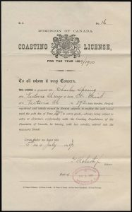 Coasting license for the S.S. Mist