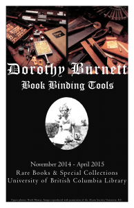 New exhibition : Dorothy Burnett Book Binding Tools