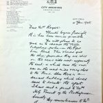 The letter from Major Matthews, City of Vancouver archivist